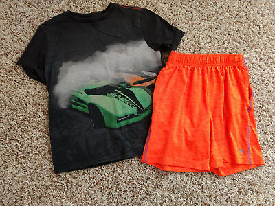 Boys Gap Old Navy Hot Wheels shirt active orange shorts outfit size 6 7 8