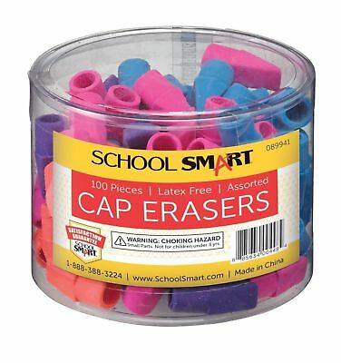 100 Pk School Smart Chisel Shaped Latex Free Pencil Cap Eraser Assorted Colors