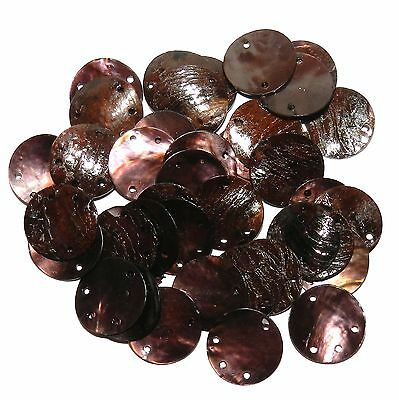 S913f Dark Brown Round Link & Drop w 3-Holes Chinese Mussel Shell Beads 40pc