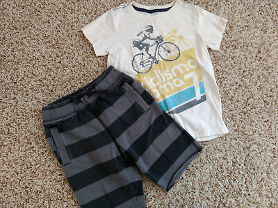 Boys Tea Collection bicycle shirt shorts outfit size medium 6-7