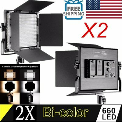 2pcs Metal Bi-color 660 LED Video Light 3200K-5600K Color Temperature For Camera