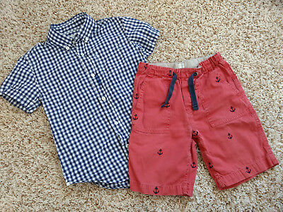 Boys J crew blue gingham button up dress shirt and red anchor shorts size 6 7