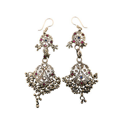(2020)Vintage silver earrings with glass .India