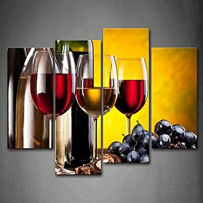 Grape Wine With Cup Wall Art Painting The Picture Print On Canvas Food Pictures
