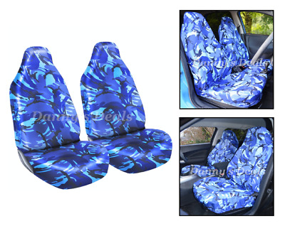 Front Blue Camo Camouflage Seat Covers Set Pair For Nissan Qashqai 2007 - 2013