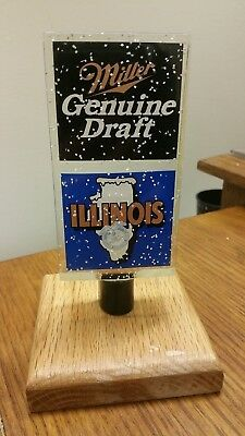 "MILLER GENUINE DRAFT MGD ACRYLIC LUCITE ILLINOIS 6"" FREE SHIP! Beer Tap Handle"