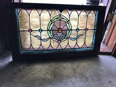 Sg 1986 Antique Jeweled Transom Window Stained Glass 18.25 X 32