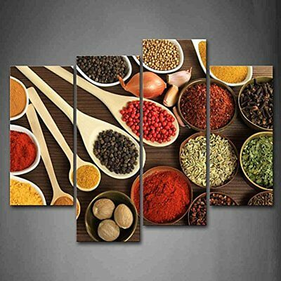 Couful Spice In Spoon Gather Together Table Both Power Granulate And Slice Pices