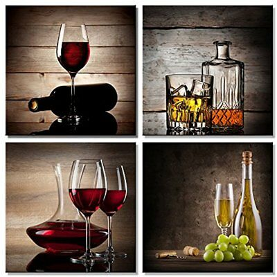 - Red Wine Cups Large Modern 4 Panels Gallery Wrapped Abstract Giclee Canvas On