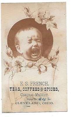 E. S. French Teas Coffees & Spices Victorian Trade Card Cleveland Ohio