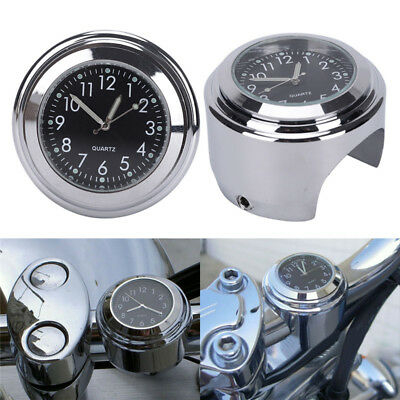"7/8""1"" Waterproof Motorcycle Handlebar Mount Black Dial Clock & Thermometer#Temp"