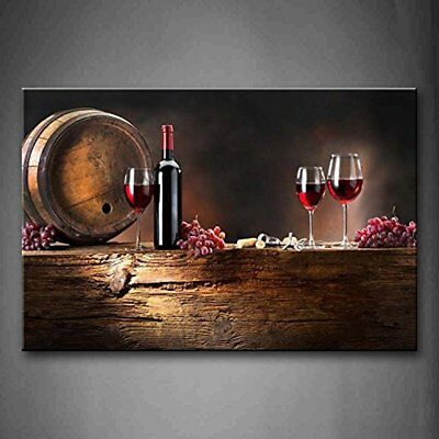 Brown Wine With Grapes And Barrel. Wall Art Painting The Picture Print On Canvas