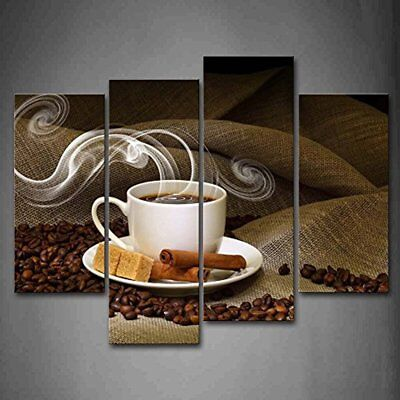Brown A Cup Of Coffee And Bean Wall Art Painting Pictures Print On Canvas Food