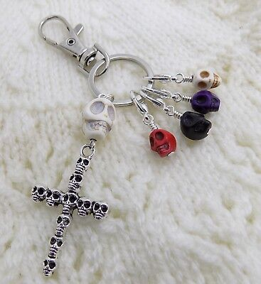 SKULL Knitting Stitch Markers & Holder