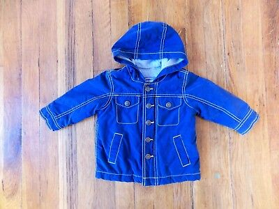 Boys 6-12 Months Navy Blue Lined Warm Jacket With Hood Old Navy