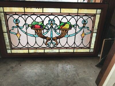 Sg 1988 Gorgeous Antique Fruitbowl Transom Window 22.5 X 42