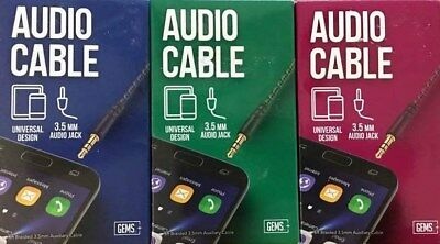 GEMS 3.5mm  Audio Jack Cable  6FT Braided Universal Design - Choose Color