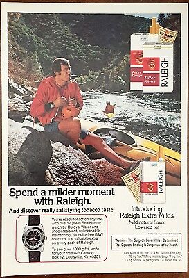 Vintage 1974 RALEIGH Cigarettes Full Page Ad ~ Bulova Sea Hunter Watch Promotion