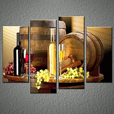 Grape And Wine Canvas Wall Art- Framed Print For Kitchen, Bar, Restaurant