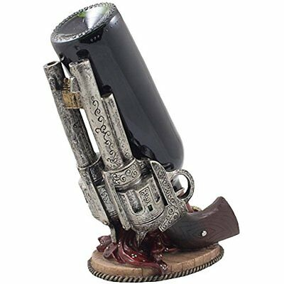 Classic Country Western Six-shooter Pistols Wine Bottle Holder Statue Vintage As