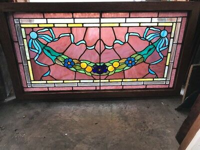 Sg 1991 Antique Flower Swag Ribbon Beveled Stained Glass Window 22.5 X 42