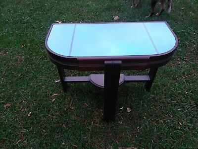 Vintage Art Deco Cobalt Blue Mirrored Glass End Table 1943