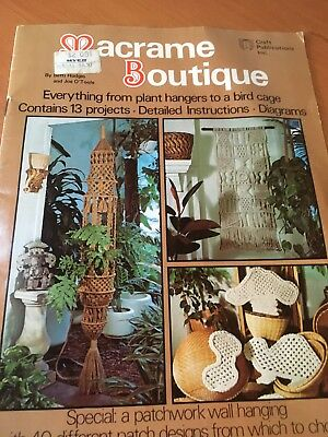 Vintage 70s Macrame Boutique Pattern book.13 Projects.Plant & wallhangers,chimes