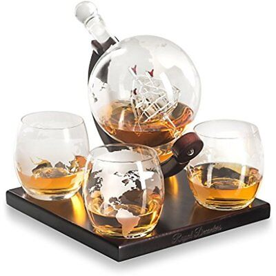 Etched Globe Whiskey Decanter Gift Set- Includes 4 Glasses & Large Beverage Also