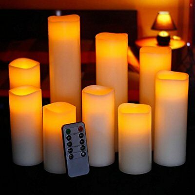 "Ry-king 4"" 5"" 6"" 7"" 8"" 9"" Pillar Flickering Flameless LED Candles With 10-key Of"