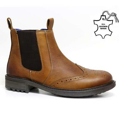 0a347827335 MENS CATESBY LEATHER Chelsea Boots Dealer Work Ankle Biker Formal Brogue  Shoes