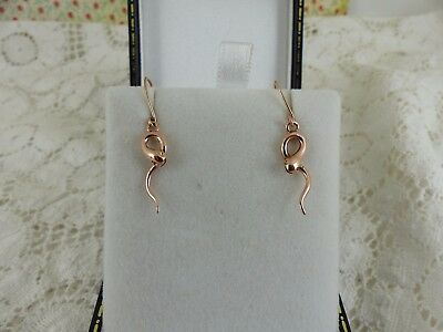 Antique Victorian Style 9ct Rose Gold Snake Drop Earrings