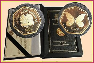 PNG. :- 100 Kina Gold Proof Coin 1990