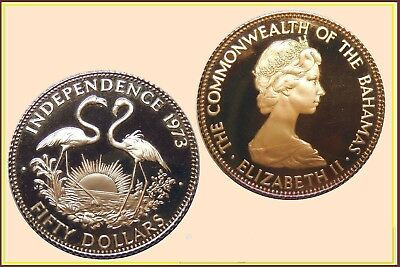 """Bahamas :- Gold $50 Proof Coin 1973 """"Independence"""" (Km.48)"""
