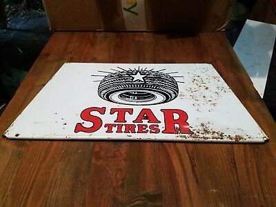 Star tire rack sign measures approx 14 x 7  some rust displays good. Gas, oil