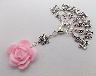 Pink BUTTERFLY & ROSE Knitting Stitch Markers & Holder - upto 7mm needles