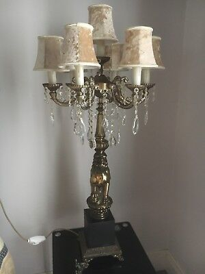 Pair Of Antique Solid Brass Lamps