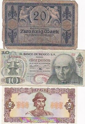 7 1915-1992 Circulated Notes From All Over