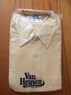 Vintage Van Heusen Pale Yellow Shirt. New In Packaging. 70s/80s. Size 16 or 41cm