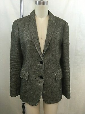 a57552834d Burberry Brit Green Linen  Wool Lamb Leather Elbow Two Button Blazer Size 4
