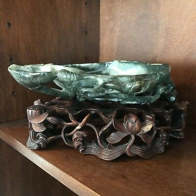 Large Ornamental Lillypad Chinese Jade Bowl With Stand.
