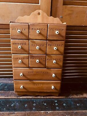 Old Vintage Antique Primitive 11 Drawer Wooden Spice Wall Cabinet 1900