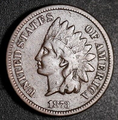 1873 INDIAN HEAD CENT - With LIBERTY - FINE *OPEN 3*