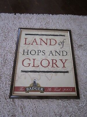 Rare Collectable English Badger Ale Trail 2003 Brewery Framed Advertising Poster