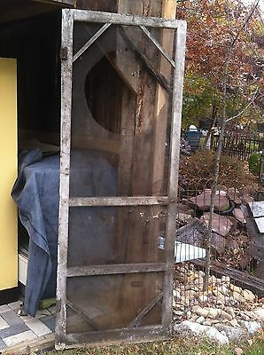 Vtg Architectural Salvage Wood Screen  Door Rustic Gas Station Door