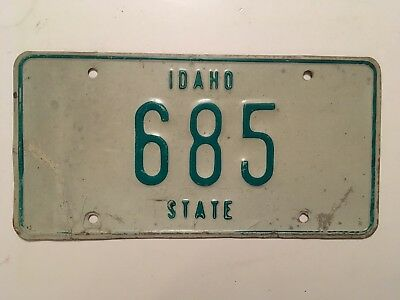 1968 Idaho State Government License Plate Weird Skinny Fonts Low Number 3-Digit