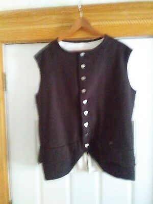 Mens L 1770 Style Waistcoat,  Rev War  Brown wool with cotton lining