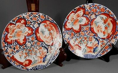 Pair Japanese Japan Imari Porcelain Plate Floral Fruit Decor ca. 19th century