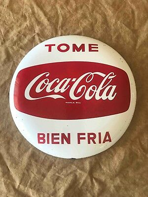 Vintage Mexican Spanish Porcelain Coca-Cola Advertising Button Sign
