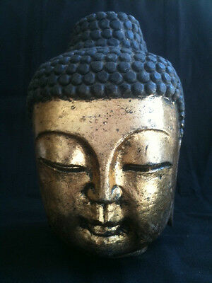 VINTAGE CARVED STONE SERENE BUDDHA BUST APPROXIMATELY 16cm TALL