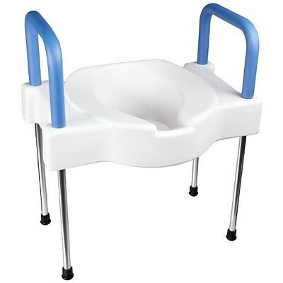 Elevated Toilet Seat Extra Wide Legs Adjustable Arm Rests Soft Seating Elderly
